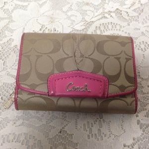 Coach Brown Mono-Pink Leather Trim, Compact Wallet